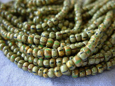 Czech 11//0 Aged Striped Glass Seed Beads 20g