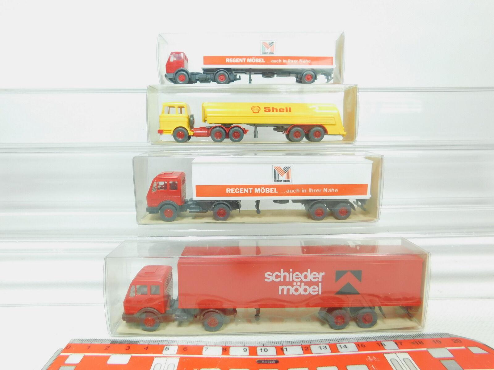 Bn42-0, 5 5 5  4x Wiking h0 1 87 camion Mercedes Mb  802 Shell +542+545+547, Neuw + neuf dans sa boîte d2df84