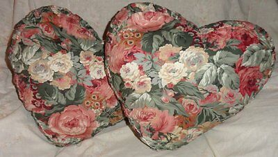 Pair 2 Roses Floral Heart Shaped Pillows Throw Pleated Side Multi Color Red Pink