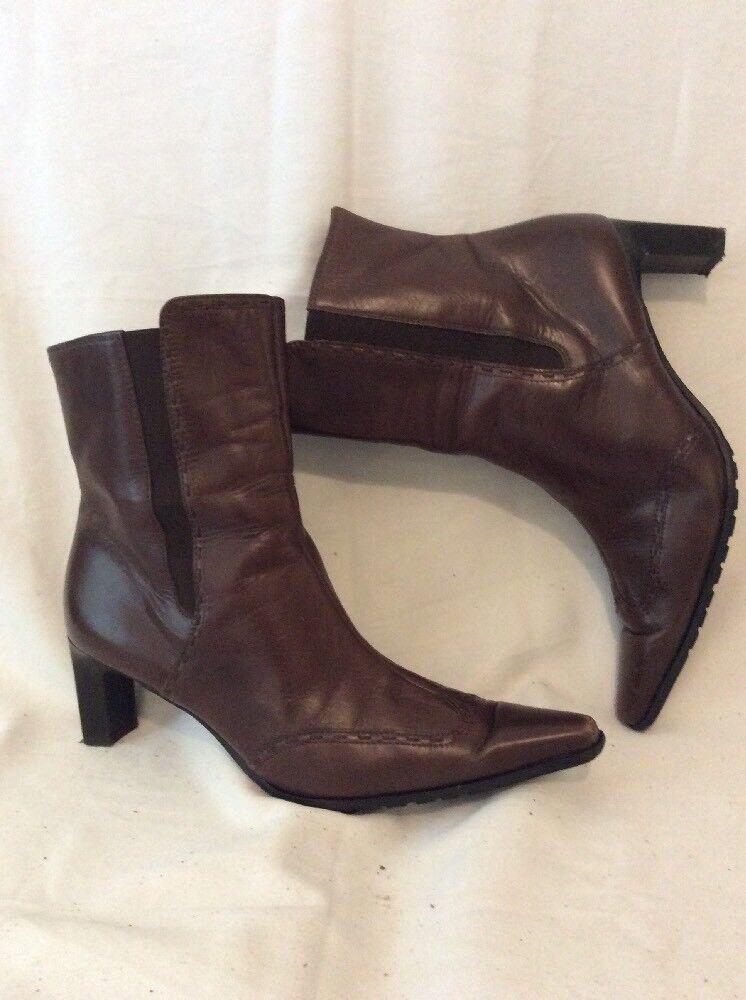 Paul vert marron cheville bottes en cuir taille 6