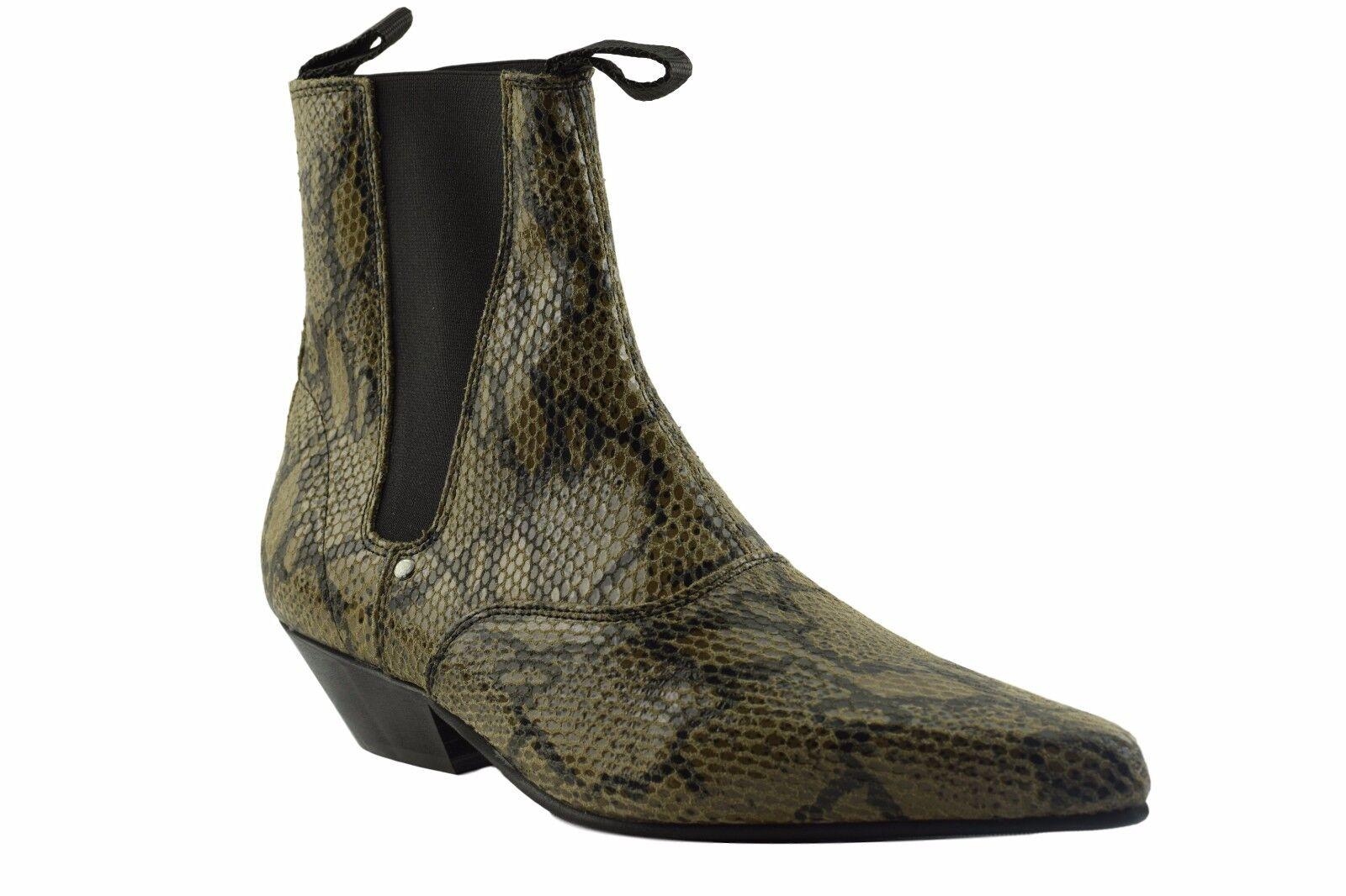 Terra in Acciaio Stivali Chelsea Pelle in Pelle Marrone Pitone Pelle Chelsea Look Tacco Cubano BEAT Boot 886384
