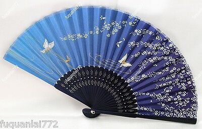 Chinese Japanese Folding Blue Butterfly Silk Hand Flower Bamboo Asian Pocket Fan