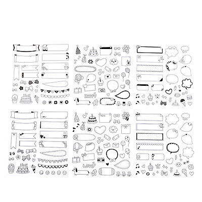 New Lovely 6 Sheet Paper Stickers for Calendar Book Wall Photo Decor Skin DIY