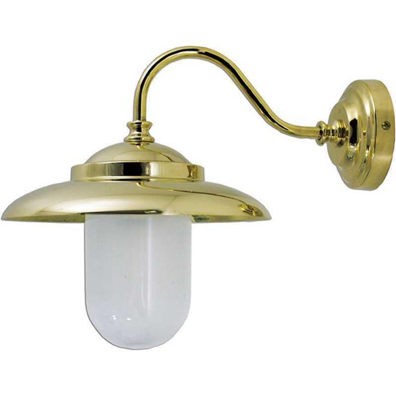 Applique in ottone lucido da esterno