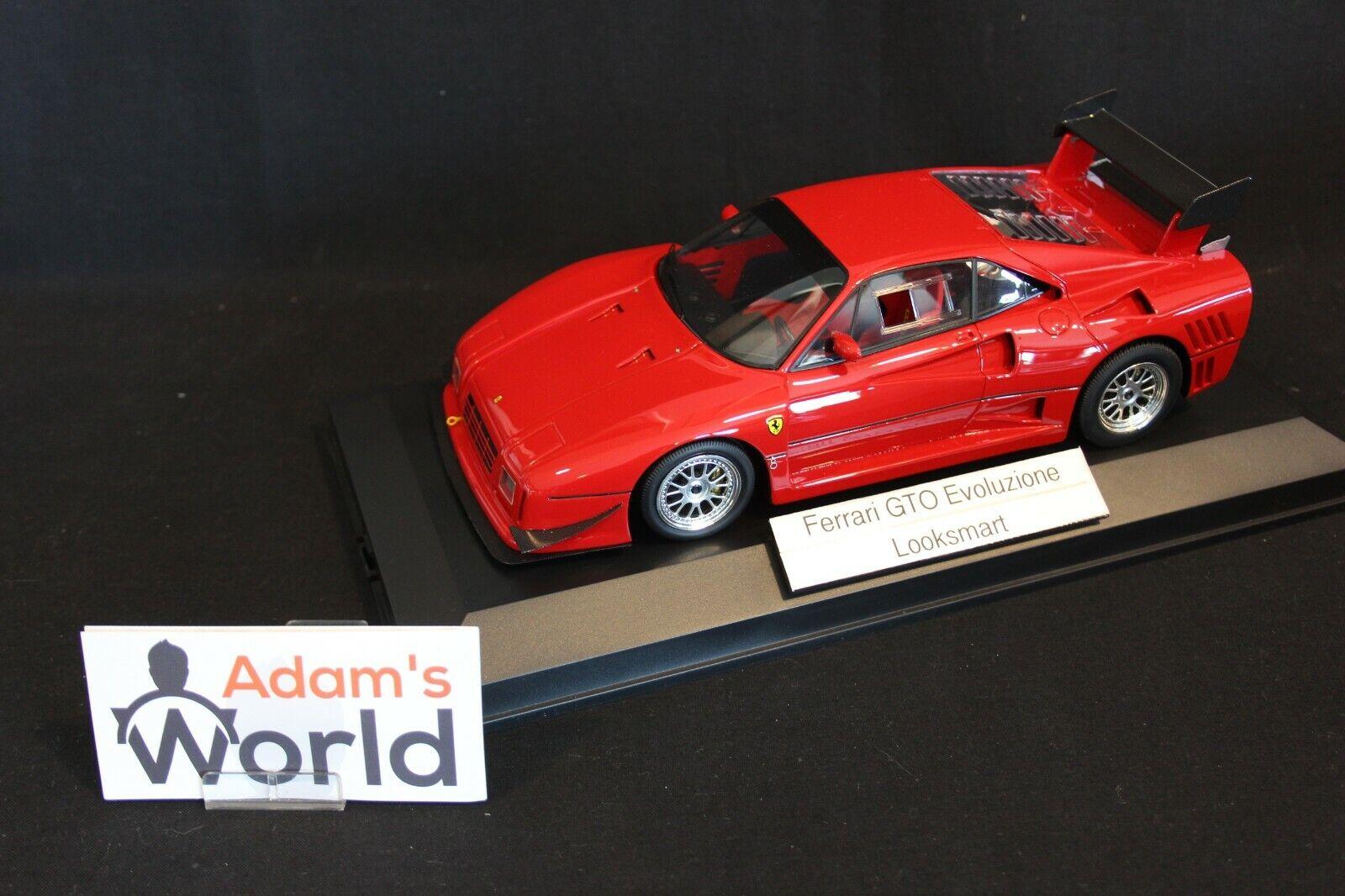 Looksmart Ferrari 288 GTO evoluzione 1  18 ruedas rojas de plata (pjbb)