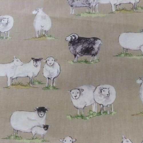 Highland Sheep Stone /& Grey  Cotton Curtain//Craft Fabric