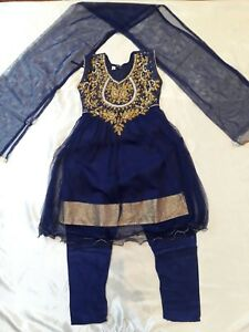 "20"" Age 2 Fancy Bollywood Salwar Kameez Indian Girls Party Blue Gold Dress K3"