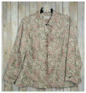 Women-s-ALFRED-DUNNER-Beige-Paisley-Button-Lined-Jacket-Top-Shirt-Plus-Size-22W