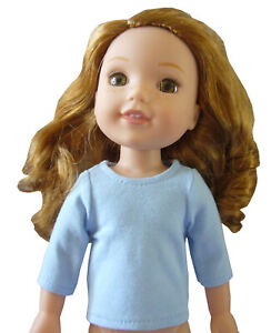 """HANDMADE Turquoise Colored T-Shirt for 14.5/"""" Wellie Wishers Doll Clothes SNAPS!!"""