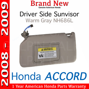 Genuine OEM Honda Accord Driver s Side Warm Gray NH686L Sunvisor ... 651941bca2e