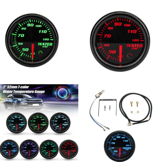 Car 12v 2 U0026quot   52mm 7 Colors Led Water Coolant Temperature