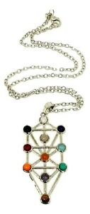 Gemstone-Kabbalah-Tree-of-Life-Pendant-Sefirot-Chakra-Natural-Gem-Chain-Necklace