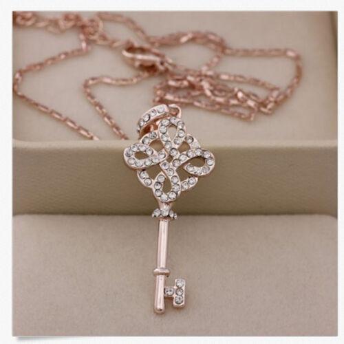 US Wonderful Womens 9K Rose Gold Filled Key Style Necklace /& Pendant tech ca