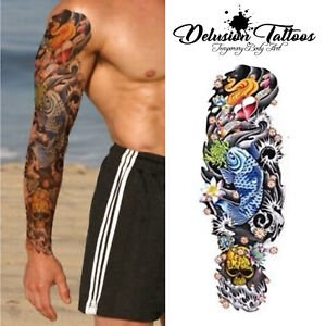 Full Sleeve Arm Temporary Tattoo Realistic Koi Carp Skull Heart