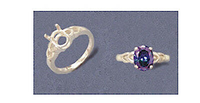 """Ring Size 7 Oval Cabochon /""""V/"""" Shank Sterling Ring Setting 14x10mm -16x12mm"""