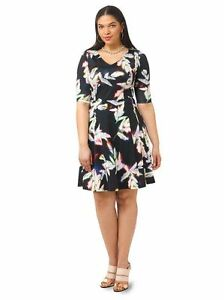 Triste Plus Size 1X Neon Floral Leaf Print Fit & Flare Elbow Sleeves ...