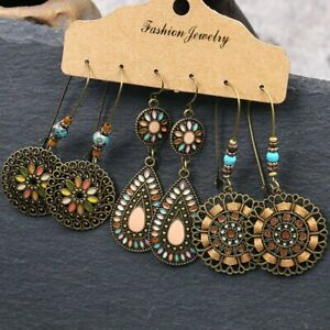 3-Pairs-Boho-Gypsy-Tribal-Ethnic-Earrings-Set-Drop-Dangle-Festival-Women-Jewelry