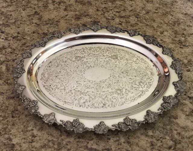Wm. Rogers Hamilton Ontario Grape Pattern Silver Plated Small Tray