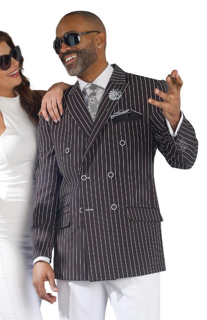 Neu Ej Samuel 2 Teile Zweireihig Schwarz Weiß Mode Nadelstreifen Anzug M2682