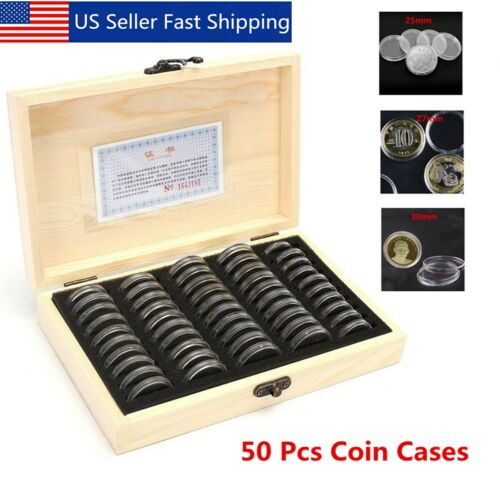 50Pcs 25//27//30mm Round Coins Holders Wooden Storage Box Container Display Cases