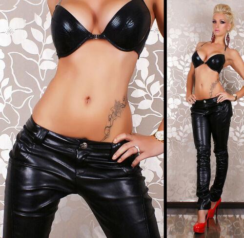 Women/'s Leather Look Jeans Low Cut Black Biker Skinny Jeans Size 12 UK SELLER