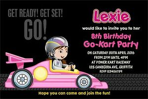 Personalised Birthday Invitations Girls Racing Car Go Kart Party x 5