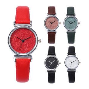 Frauen-Fashion-Stern-Scrub-Shining-kleine-Zifferblatt-Quarz-Einfach-Analog-Armbanduhr