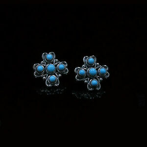 925-Sterling-Silver-Natural-Sleeping-Beauty-Blue-Turquoise-Post-Earrings