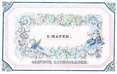 cupids GAND c1850 fine Litho Engraver VAN DE STEENE Printer advertising card VG