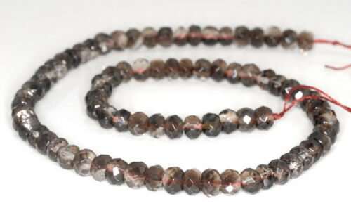 """8X5MM SMOKY QUARTZ GEMSTONE FACETED RONDELLE LOOSE BEADS 15.5/"""""""
