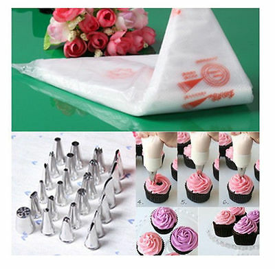 NEW 98-100PCS Disposable Piping bag Icing Nozzle Fondant Cake Decorating Pastry