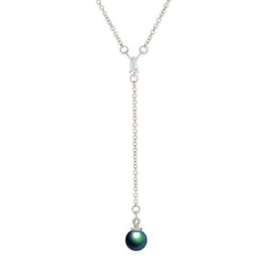 CRISLU-Women-039-s-Platinum-plated-925-Silver-Cubic-Zirconia-amp-Pearl-Chain-Necklace