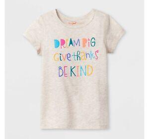 Toddler Girls Sensory Friendly T-Shirt Cat & Jack Brown Be Kind Thanks Top Shirt