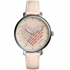 NWT❤️Fossil Women's Jacqueline Heart Blush Leather Watch ES4153 Pink Silver 36mm