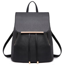 e3afd3e5acb8 Black Women PU Leather Travel Bag Backpack Shoulder School Bag Handbag  Satchel