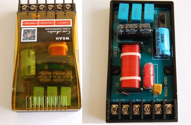 2pcs Car Audio divider 2-Way Crossover Filters Hi-Fi Speaker Frequency Divider