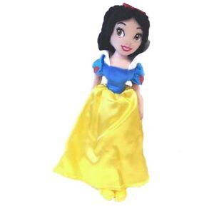 buy popular 085c5 39375 Dettagli su BIANCANEVE peluches morbido con vestito in raso giallo e blu 28  cm idea regalo