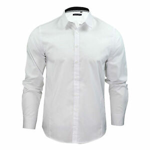 Mens-Boys-Plain-White-Long-Sleeve-Shirt-Cotton-Collared-Smart-School-Work-S-XL