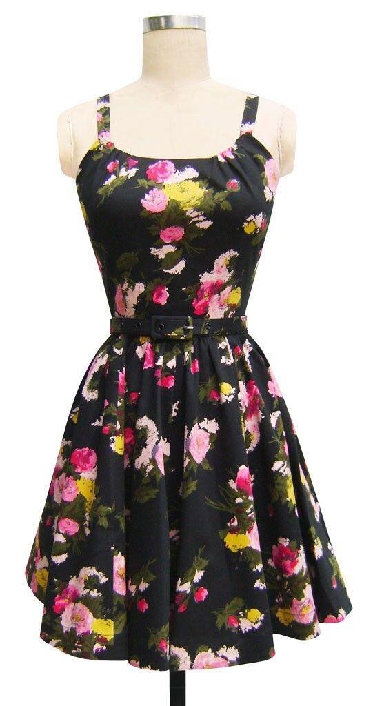 0da108c3cc3 TRASHY DIVA ANNETTE MINI DRESS 5th Avenue Floral vintage 50s pin up retro  sz 2