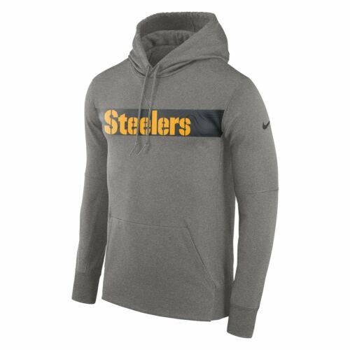 grey adult L Steelers NFL dri-fit therma hoodie