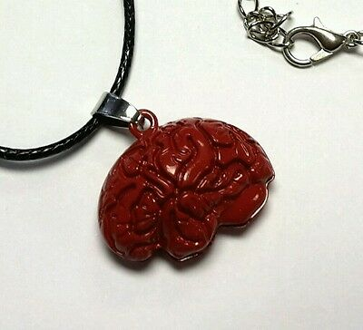 Zombie brain red pendant necklace 18 inch lobster clasp cord