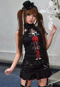Jrock-Victorian-Retro-Punk-Visual-Kei-Choker-EGL-Lace-Fetish-RED-Vampire-Corset