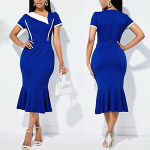 Women-Colorblock-Bodycon-Casual-Business-Office-Work-Pencil-Mermaid-Sheath-Dress