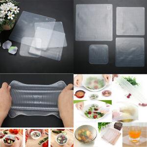 4-PACK-STRETCH-riutilizzabile-in-silicone-Ciotola-Cibo-Storage-Wraps-COVER-Seal-Coperchi-fresco