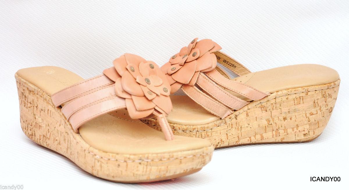 New Born FLUTTER Leather Wedge Thong Platform Sandal shoes W22259 Nude 8
