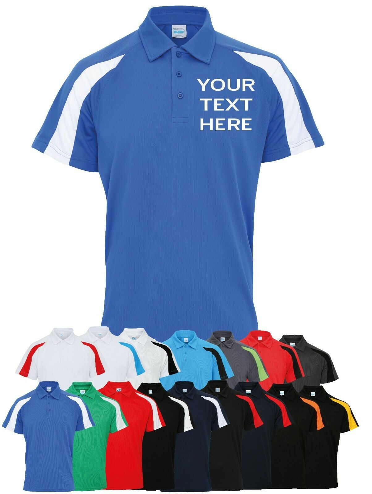Personalised Text /& Logo Embroidered Polo Shirt Uniform Workwear Custom Tee Top
