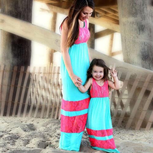 Vestido largo de vacaciones que empareja Mother Daughter Encaje Playa Solera Verano Informal