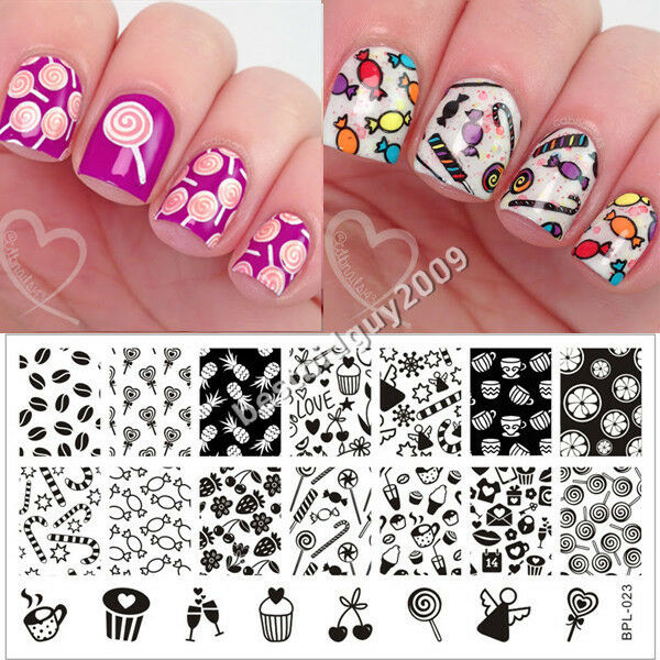 Born Pretty Nail Art Stamping Plate Cute Candy Image Stamp Template ...