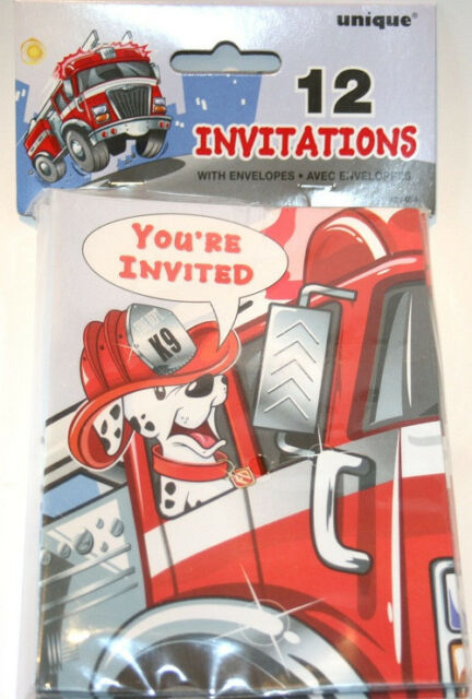 Fire Truck Themed Birthday Invitations Collection On Ebay
