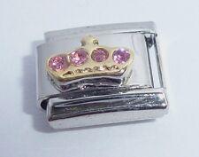 GOLD CROWN PINK GEMS Italian Charm I Love my Princess 9mm fits Classic Bracelets